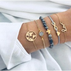 #01 - grijze armband - love - infinity - schildpad - steentjes - wereldbol -  5-delige armband