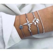 #10 - Grijze armband hartslag - heartbeat - wereldbol - zilveren bolletjes - steentje - 4-delig UITVERKOCHT