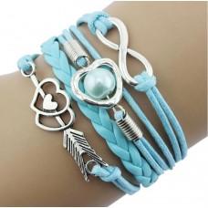 #12 - Gekleurde armband - 5-delig - Gevlochten armband - Lichtblauw