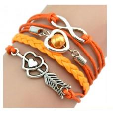 #16 - Gekleurde armband - 5-delig - Gevlochten armband - Oranje