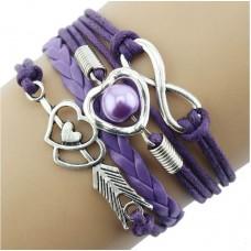 #14 - Gekleurde armband - 5-delig - Gevlochten armband - Paars