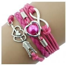#13 - Gekleurde armband - 5-delig - Gevlochten armband - Roze