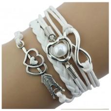 #11 - Gekleurde armband - 5-delig - Gevlochten armband - Wit