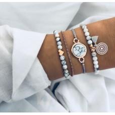 #02 - grijs/witte armband - hartje- marmer - love- mandala- goudkleurig -  5-delige armband