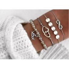 #06 - grijze armband - infinity - zilveren rondjes - hartjes - grijze kraaltjes - love -  4-delige armband