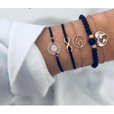 #07 - Zwart gouden armband  - cirkel - infinity - rondje - zwarte kralen -  hartje - 5-delige armband