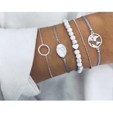 #08 - Witte armband met hartje- zilverkleurig rondje - lichtblauw armbandje met steentje -bolletjes - wereldbol - 5-delige armband