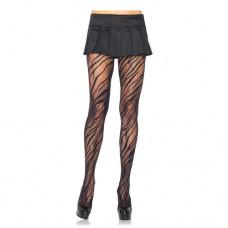 Zwarte panty met zebra print