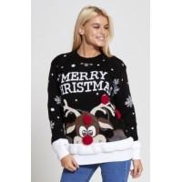Foute kersttrui Merry Christmas Zwart