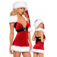 Kerstpakje - Kerstjurkje met bonte kraag UITVERKOCHT