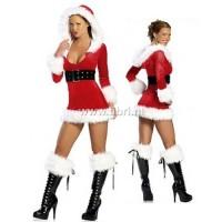 Kerstpakje - Kerstjurkje met capuchon en korte beenwarmers