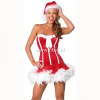 Kerstpakje - Strapless kerstjurkje met veren UITVERKOCHT