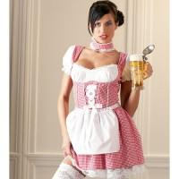 Oktoberfest jurkje / Dirndl rood/wit geruit