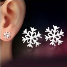 #404 - Zilveren oorbellen sneeuwvlok
